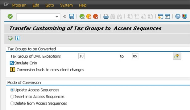 Tax Group Into Access Sequence
